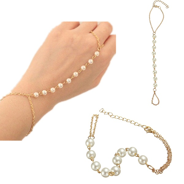 Gold Plated Pearl Ring Bracelet Beads Metal Chain For Women