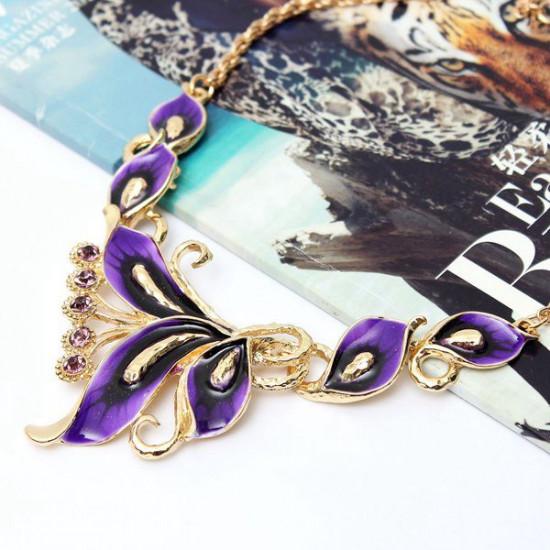 Gold Plated Rhinestone Enamel Flower Earrings Necklace Jewelry Set