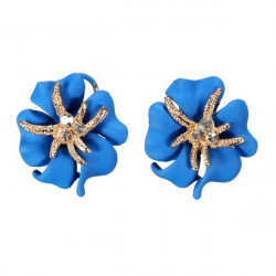 Gold Plated Rhinestone Flower Petal Stud Earrings Women Jewelry