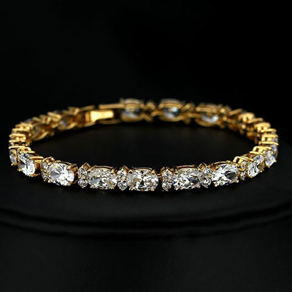 Gold Plated Round Cubic Zircon Inlay Chain Bracelet For Women Fine Jewelry