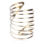 Gold Plated Spring Shape Hollow Out Cuff Bracelet Bangle Women Jewelry