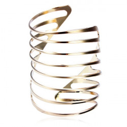 Gold Plated Spring Shape Hollow Out Cuff Bracelet Bangle