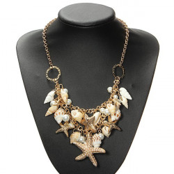 Gold Plated Starfish Shell Pearl Statement Necklace Chunky Necklace