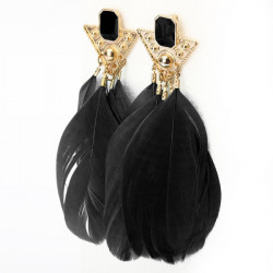 Gold Plated Triangle Goose Feather Drop Earrings Women Jewelry