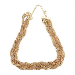 Gold Plated Twist Chain Rolling Cross Shape Lady Statement Necklace