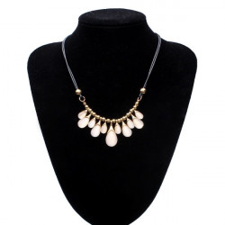 Gold Plated Water Drop Opal Necklace Black Leather Rope Chain Choker