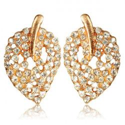 Gold Rhinestone Hollow Leaf Ear Stud Earrings Women Jewelry