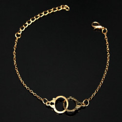Gold Silver Alloy Handcuffs Charm Buckle Chain Bracelet Jewelry