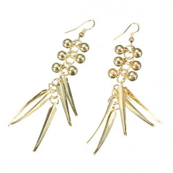 Gold Silver Beads Spike Rivet Long Tassel Ear Drop Earrings For Women