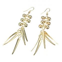 Gold Silver Beads Spike Rivet Long Tassel Ear Drop Earrings For Women