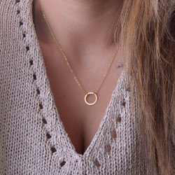 Gold Silver Circle Clavicle Chain Pendant Necklace For Women