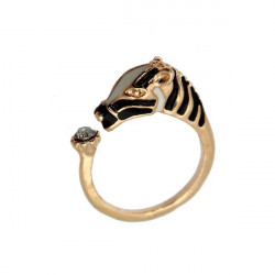 Gold Silver Crystal Zebra Horse Head Adjustable Finger Ring