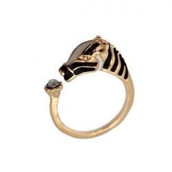 Gold Silver Crystal Zebra Horse Head Adjustable Finger Ring