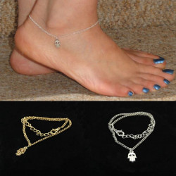 Gold Silver Fatima Hand Hamsa Alloy Anklet Bracelet Foot Jewelry