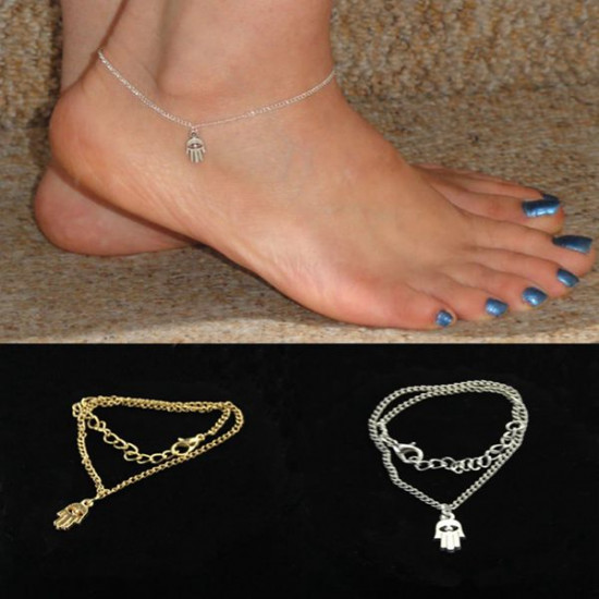 Gold Silver Fatima Hand Hamsa Alloy Anklet Bracelet Foot Jewelry 2021