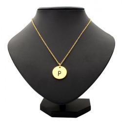Gold Silver Letter Alphabet Round Pendant Chain Necklace Unisex