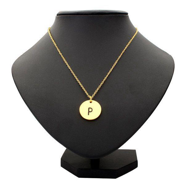 Gold Silver Letter Alphabet Round Pendant Chain Necklace Unisex Women Jewelry