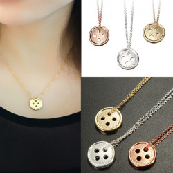 Gold Silver Lucky Round Button Pendant Necklace For Women