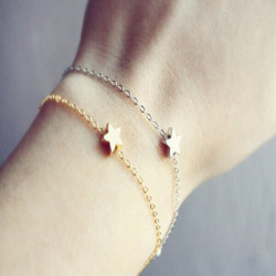 Gold Silver Lucky Star Simple Chain Bracelet For Women