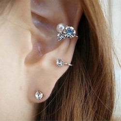 Gold Silver Pearl Crystal Ear Clip Cuff Earrings For Women