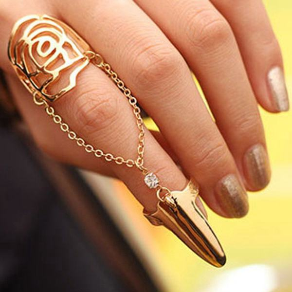 Gold Silver Plated Hollow Rose Link Chain Nail Ring For Women Women Jewelry