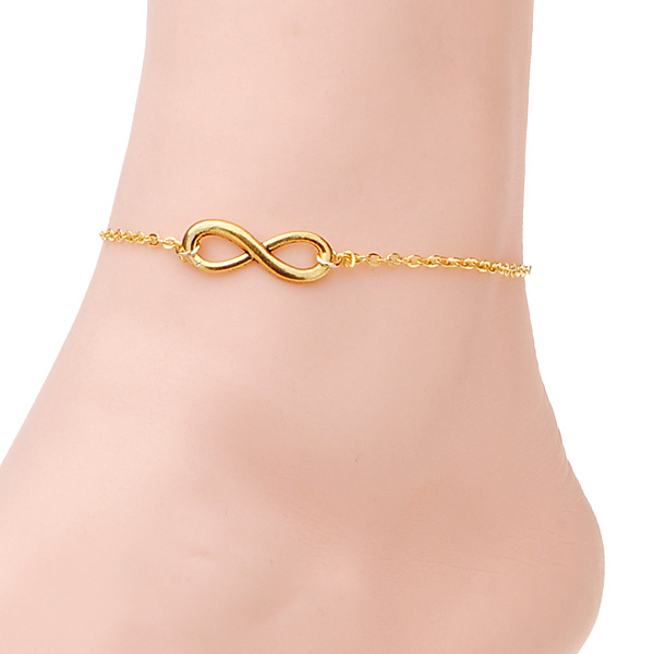 Gold Silver Plated Infinity 8 Symbol Anklet Bracelet Metal Foot Chain Women Jewelry