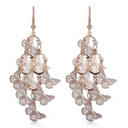 Gold Silver Plated Multilayer Butterfly Long Earrings Jewelry