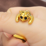 Gold Silver Plated Rhinestone Cat Opening Ring Alloy Finger Ring Women Jewelry