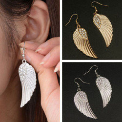 Gold Silver Rhinestone Angel Wings Dangle Earring For Women