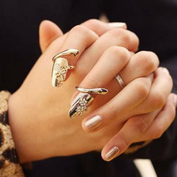 Gold Silver Rhinestone Dragonfly Flower Finger Opening Ring Nail Ring