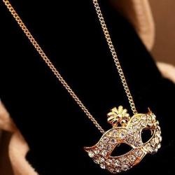 Gold Silver Rhinestone Fox Mask Pendant Necklace For Women