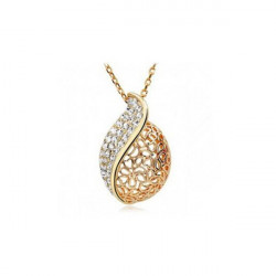 Gold Silver Rhinestone Hollow Leaf Pendant Necklace For Women