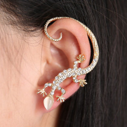 Gold Silver Rhinestone Lizard Ear Cuff Stud Earrings For Women