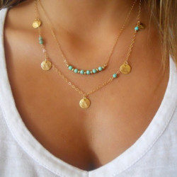 Gold Silver Sequin Turquoise Beads Double Chain Multilayer Necklace
