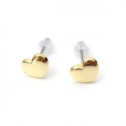 Gold Sweet Love Heart Ear Stud Earrings For Women
