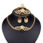Golden Hollow Crystal Bangle Earrings Ring Necklace Jewelry Set Women Jewelry