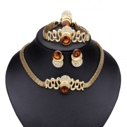 Golden Hollow Crystal Bangle Earrings Ring Necklace Jewelry Set