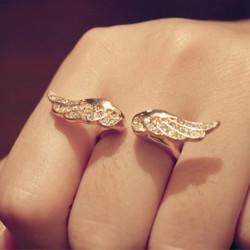 Golden Rhinestone Angel Wings Adjustable Finger Ring For Women