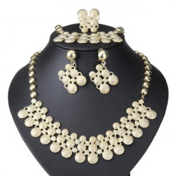 Golden Round Alloy Necklace Earrings Bracelet Ring Jewelry Set