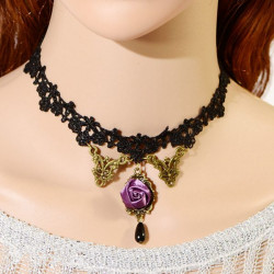 Gothic Purple Rose Flower Beads Pendant Lace Collar Necklace Jewelry