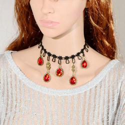 Gothic Red Crystal Water Drop Lace Tassel Short False Collar Necklace