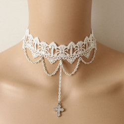Gothic Rhinestone Cross Pendant White Lace Collar Necklace