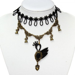 Gothic Swan Beads Pendant Lace Collar Necklace Women Jewelry