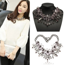 Gray Acrylic Crystal Flower Statement Necklace Chunky Metal Chain