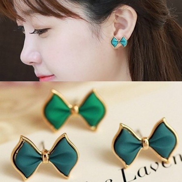 Green Blue Bowknot Alloy Ear Stud Earrings Women Jewelry Gold Plated Women Jewelry