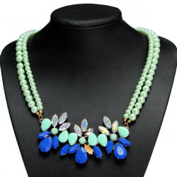 Green Crystal Flower Double Layers Beads Chain Choker Necklace