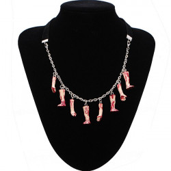 Halloween Bloody Hands Legs Necklace Velvet Chain Handmade Necklace