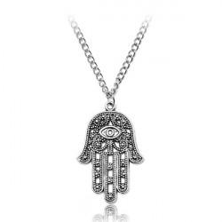 Hamsa Fatima Hand Evil Eye Pendant Chain Necklace Silver Tone
