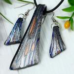 Handmade Art Silver Glass Jewelry Set Necklace Pendant Eardrop