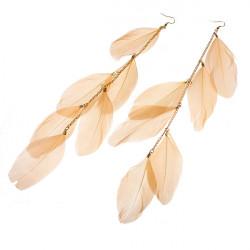 Handmade Dangle Multi-piece Feather Drop Long Pierced Earrings